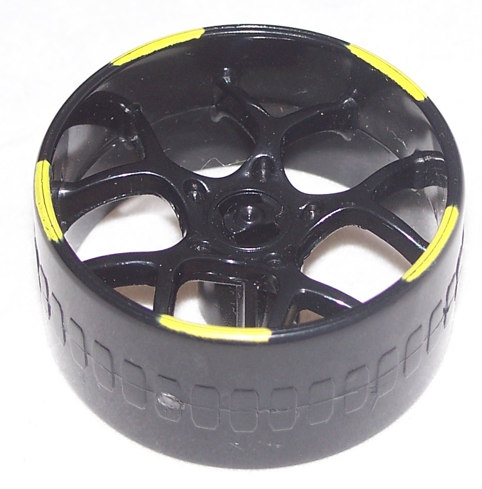 K'NEX Racing Wheel Multi spoke 37mm BLACK Yellow