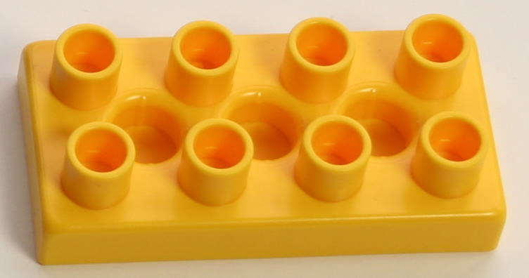 Kid K'NEX Brick 2x4 Flat Yellow - Click Image to Close