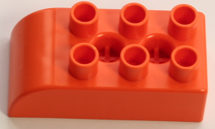 Kid K'NEX Brick 2x3 Rounded end Orange
